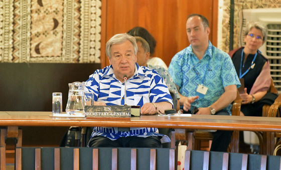 United Nations Secretary-General António Guterres addresses the Pacific Islands Forum in Fiji on 15 May 2019., by UN Photo-Mark Garten
